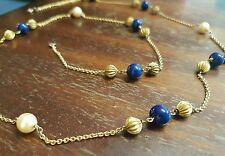 Beau et tres longue collier ancien plaqué or avec perles et lapis lazuli