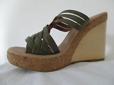 Anthropologie Gee WaWa 10 M Woven Wedge Heels Platform Slides Green Leather NWOB