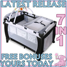 *NEW* 7 In 1 BABY PORTABLE TRAVEL COT BASSINET PLAYPEN PORTACOT