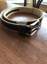 Mens NAUTICA Canvas Leather overlay Brushed Silver Buckle  Belt 34