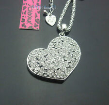 664S   Betsey Johnson Silver Tone Shining Crystal Heart Pendant Necklace