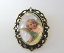 Vintage Bronze Plated Beautiful Cherub Angel Design Brooch New in Gift Bag