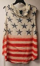 CUTE NEW WOMENS PLUS SIZE 3X 4TH OF JULY RED WHITE & BLUE HOODED TANK TOP HOODIE