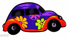 """3"""" PRETTY BUGGY PEACE SIGN FLOWERS VOLKSWAGON CARS FABRIC APPLIQUE IRON ON"""