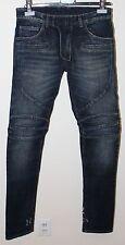 Balmain Side Distressed Moto Biker Jeans Size 28 BNWT Blue Denim