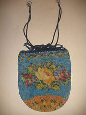 Antique Floral Crochet Micro Bead beaded purse