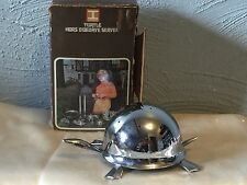 VINTAGE IRVINWARE CHROME TURTLE HORS D OEUVRES TOOTHPICK HOLDER SERVER IN BOX