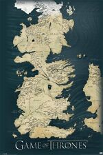 Game of Thrones - Map - Seven Kingdoms of Westeros - TV Poster
