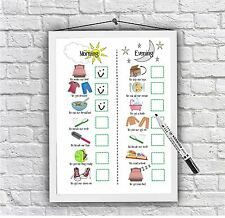 Kids routine chart, toddler chores print, daily visual aid, Autism ADHD UNFRAMED