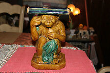 Majolica Monkey Plant Stand Garden Seat-Pottery Ceramic-#2-Monkey Holding Fruit