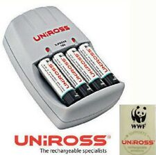 COMPACT UNIROSS PLUG IN CHARGER WITH 4 AA BATTERIES NEW