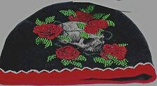 """Black/Red Sinful by AFFLICTION ROSES & SKUL RHINSTONE """"Sinful""""Beanie  SKULL CAP"""