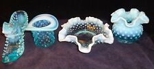 PRE-LOGO Vintage Lot 4 pcs Blue Hobnail Opalescent Fenton Collectible Art Glass