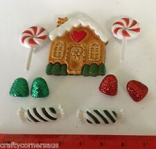 Christmas buttons Candy Christmas cottage ginger bread lollies 2461