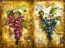 Pintura Collage uvas de vinificación Etiqueta Vino Vid francés Francia cartel impresión lv2419