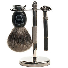 Parker 96R Shave Set - Safety Razor, Stand & 100% Pure Badger Brush Included
