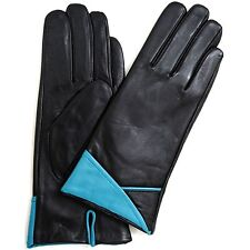 LADIES PREMIUM BUTTER SOFT LEATHER GLOVES CUFF FEATURE BLACK BEIGE RED BLUE
