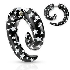 All UV Black and White Star Printed Spiral Fake Taper Earrings Pair