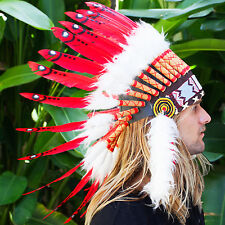 FAST!! Feather Headdress - Native American Indian style War Bonnet - Red Duck