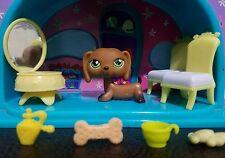 Littlest Pet Shop #307 139 Brown Dachshund Puppy Dog Green Eyes Toy LPS