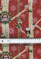 Fat Quarter Woodland Critters Animals Christmas 100% Cotton Quilting Fabric
