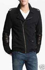 7 FOR ALL MANKIND MENS MIXED MEDIA LEATHER ZIP MOTO JACKET BLACK XXL NEW W/TAGS