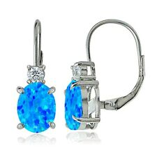 925 Sterling Silver White Topaz and Created Blue Opal Leverback Earrings