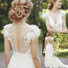 Romantic Beach White/Ivory V Neck Bridal Gowns Ruffles Vintage Wedding Dresses
