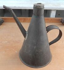 Antique 19th Century Hand Soldered Tall TIN Oil Lamp Filler with Unusual Stopper