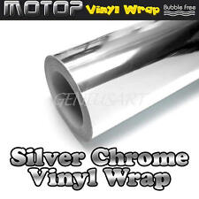 "12x60""Silver Chrome Mirror Vinyl Wrap Film Car Stickers Decal Sheet Bubble Free"