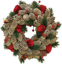 """10"""" Pine Cones with Berries and Flowers Artificial Christmas Wreath - Unlit"""
