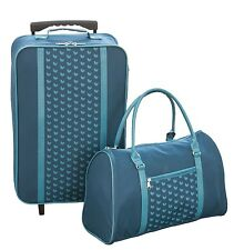 BRAND NWT 2-PIECE Matching Teal Hearts LUGGAGE SET Rolling Suitcase/Travel Bag