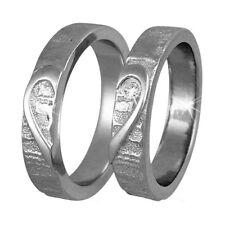 2 Silber 925 Trauringe HERZ Gravur Freundschaftsringe Eheringe Ringe V01t