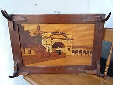 ANTIQUE EUROPEAN WALL COAT HANGER EXOTIC BURL WOOD MARQUETRY PANEL CASTLE INLAY