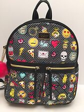 BETSEY JOHNSON Backpack*Skull Heart Black Multi Travel Shoulder Bag $98 New