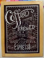 "Janlynn Cross Stitch Kit Fresh Brewed Coffee Espresso Chalkboard Style 5"" x 7"""