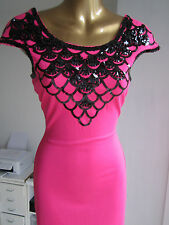 Lipsy Size 8 Pink Black Sequin Cap Sleeve Bodycon Top Dress