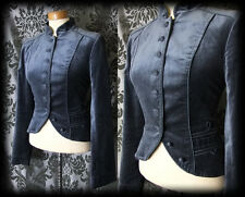 Gothic Navy Blue Velvet Detail SPLENDEUR Fitted Military Jacket 12 14 Vintage
