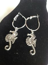 sea horse hoop earrings silver plated
