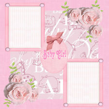 Premade Scrapbooking 2 Page Layouts BABY GIRL flowers ribbon gems