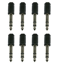 "8 x Accu-Cable Jack Adaptor 1/4"" 6.35mm to 3.5mm Headphone Mixing Desk Convertor"