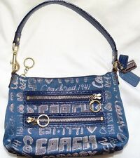 Womens Blue & Gold Sparkle COACH POPPY Story Evening Purse Handbag!