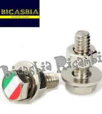 6657 - VID HEXAGONAL CON BANDERA DE ITALIA PARA MARCO PLACA VESPA 50 125 150 180