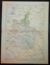1887 impression antique carte en couleurs de ARDENNES FRANCE français