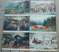 SIX Antique Currier and Ives Litho Prints Railroad Boats Horses Hunting Rockies