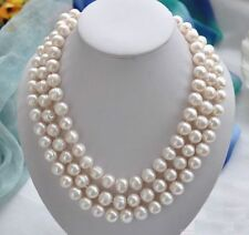 50 inch Huge AAA 11-13MM south sea white baroque pearl necklace 14K Gold Clasp