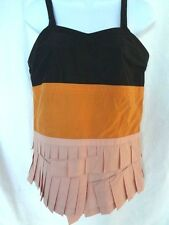 Auth NEW wiht tags MARNI Peach/Amber/Black PLEATED TOP BLOUSE Size 40