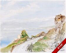ISLE OF WIGHT BAY ENGLAND WATERCOLOR PAINTING ART REAL CANVAS GICLEEPRINT WHITE