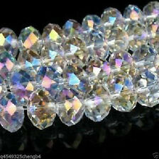 Wholesale! 100pcs 4x6mm White AB  Crystal Faceted Loose Bead