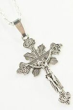 Retro Style Jesus Christ Crucifix Cross Charm Pendant & Chain Necklace